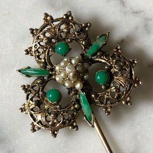🔥 Vintage Pearl Jade Filigree Stick Pin